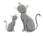 Hand-drawn image of two cats